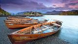 Wooden Boats On Beach