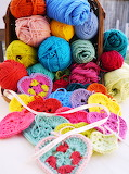 Colorful hearts of yarn