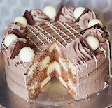 Triple chocolate checkered cake