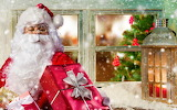 Santa sitting by the window