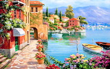 Painting-Italy Lakeside