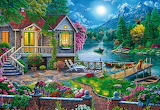 Cabin by stream