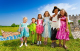 Children in colorful clothing