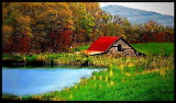 ^ Red roofed barn, West Virginia USA