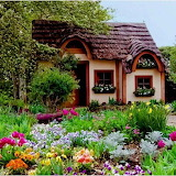 small cottage in a flower garden