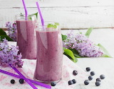 Drinks Juice Blueberries Lilac Highball glass Two Food (2)
