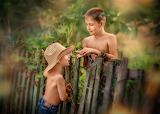 Boys, nature, children, fence, hat, bracelets