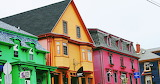 Color green yellow pink blue houses