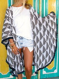 LJC DESIGNS Gray Geometric Printed Statement Kimono