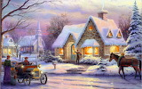 Chrismas City Houses Winter Painting Background