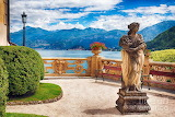 Lake view from villa terrace in Italy
