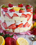 Strawberry trifle with lemon cake