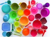 Rainbow Plastic Cups and Bowls