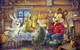 Children hut hare samovar holiday-