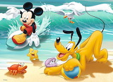 Mickey and Pluto at the Beach