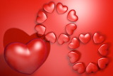 Embossed Hearts Red