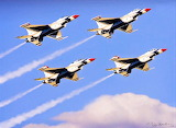 #Four Thunderbird Fighter Jets Flying in Formation by Dan Barba