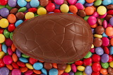 Chocolate egg with candy