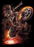 skeleton and fire motorcycle