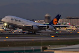 Lufthansa Airbus A380 departing Los Angeles at dusk
