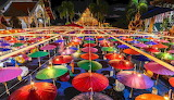 Bright-colorful-paper-vintage-lanterns-hung-near-a-buddhist-temp