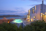 Luxury Crete Villa, and pool at dusk