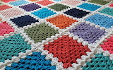 ^ Solid colors Granny Squares afghan