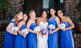 Bride with her Bright Blue Bridesmaids