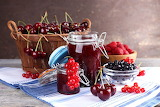 Cherries, berries, jam