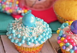 #Colorful Candy Gumball Cupcakes