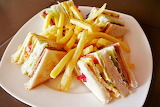 ^ Club sandwich with fries