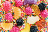 #Fruit Candies on Rainbow Candy Sprinkles