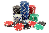 Colorful poker chip stacks