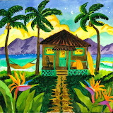 #Tropical Beach Hut with Palm Trees by Robin Wethe Altman
