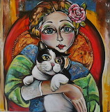 Lady and Cat painting
