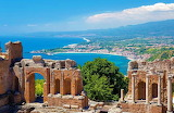 View from the Greek theatre in Sicily