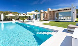 Luxury white modern villa and pool in Ibiza