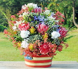 Beautiful red-white-blue flower bouquet