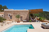 Unique terracotta colour luxury villa and pool in Ibiza