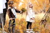 Boy, girl, children, bouquet, flowers, shy, friends, hat, nature