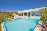 Ultra modern luxury white villa and large pool