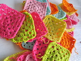 Neon-colored Granny Squares