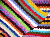 Colorful crocheted afghan