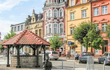 Brodnica, Poland, city, buildings, square, statue
