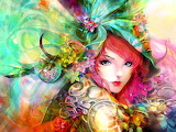 Art-painting-girl-eyes-face-flowers-red-hair-colorful-2K-wallpap