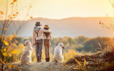 Girl, dog, boy, children, nature, autumn, embrace, friends, hat