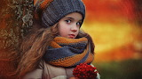 Autumn, nature, children, berries, tree, girl, child, hat, scarf