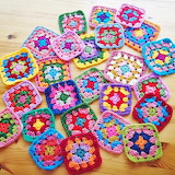 Bunch of colorful granny squares