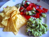 ^ Guacamole, tortilla chips and salsa