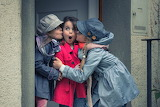 Girls, children, surprise, kiss, coat, hat